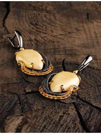 Drop Mammoth Tusk Earrings In Gold-Plated Silver The Era, image , picture 2