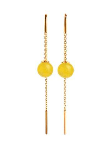 Amber Threader Earrings In Gold-Plated Silver The Jupiter, image , picture 3