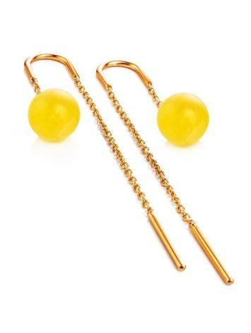Amber Threader Earrings In Gold-Plated Silver The Jupiter, image , picture 4