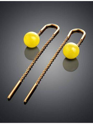 Amber Threader Earrings In Gold-Plated Silver The Jupiter, image , picture 2