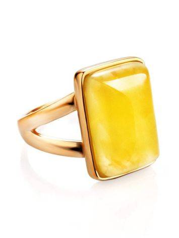 Stylish Natural Honey Amber Ring The Copenhagen, Ring Size: 5.5 / 16, image , picture 3