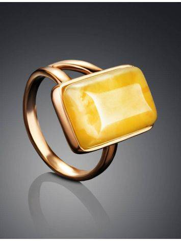 Stylish Natural Honey Amber Ring The Copenhagen, Ring Size: 5.5 / 16, image , picture 2