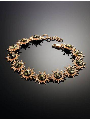 Link Amber Bracelet In Gold Plated Silver The Helios, image , picture 2