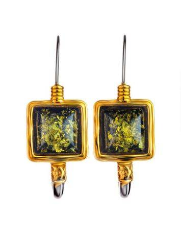 Gold-Plated French Back Earrings With Green Amber The Aida, image , picture 4