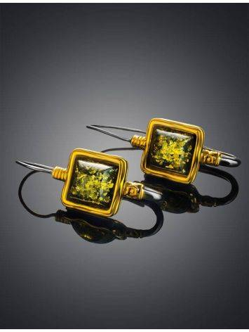 Gold-Plated French Back Earrings With Green Amber The Aida, image , picture 2