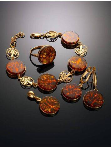 Amazing Symbolic Gift The Tree Of Life Bracelet Made in Amber And Gold-Plated Silver, image , picture 4