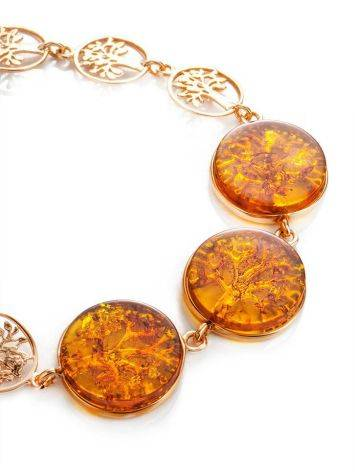Amazing Symbolic Gift The Tree Of Life Bracelet Made in Amber And Gold-Plated Silver, image , picture 3