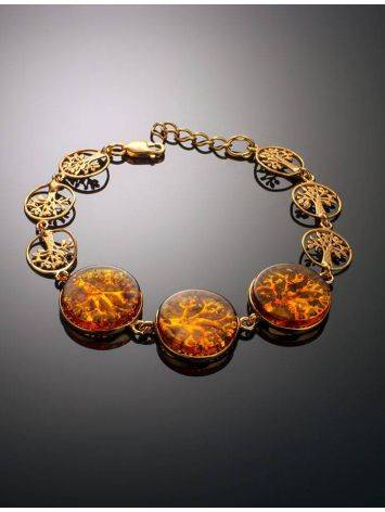 Amazing Symbolic Gift The Tree Of Life Bracelet Made in Amber And Gold-Plated Silver, image , picture 2