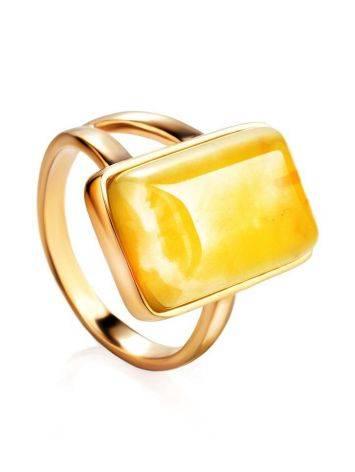Stylish Natural Honey Amber Ring The Copenhagen, Ring Size: 5.5 / 16, image