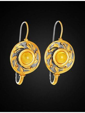 Bold Gold-Plated Earrings With Honey Amber The Aida, image , picture 4