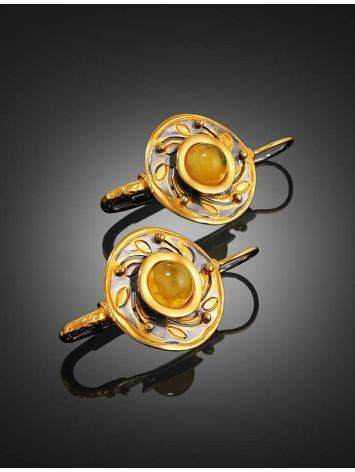Bold Gold-Plated Earrings With Honey Amber The Aida, image , picture 2