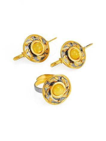 Bold Gold-Plated Earrings With Honey Amber The Aida, image , picture 5