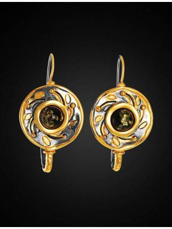 Green Amber Earrings In Gold-Plated Silver The Aida, image , picture 5