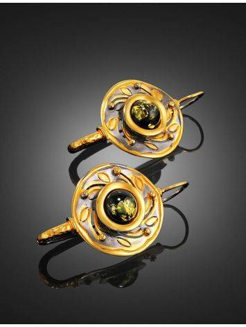 Green Amber Earrings In Gold-Plated Silver The Aida, image , picture 3