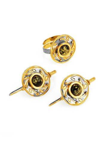 Green Amber Earrings In Gold-Plated Silver The Aida, image , picture 6