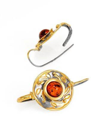 Cognac Amber Earrings In Gold Plated Silver The Aida, image , picture 3