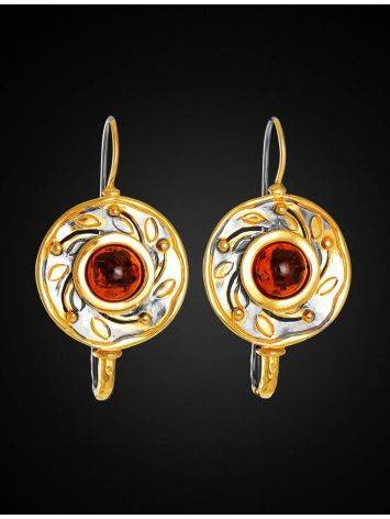 Cognac Amber Earrings In Gold Plated Silver The Aida, image , picture 4
