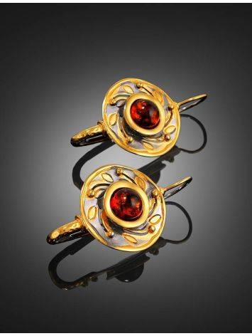 Cognac Amber Earrings In Gold Plated Silver The Aida, image , picture 2