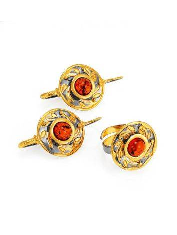 Cognac Amber Earrings In Gold Plated Silver The Aida, image , picture 5