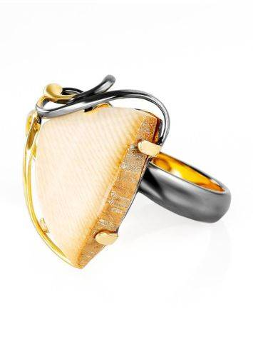 Refined Gold-Plated Open Ring With Genuine Mammoth Ivory The Era, Ring Size: Adjustable, image , picture 4