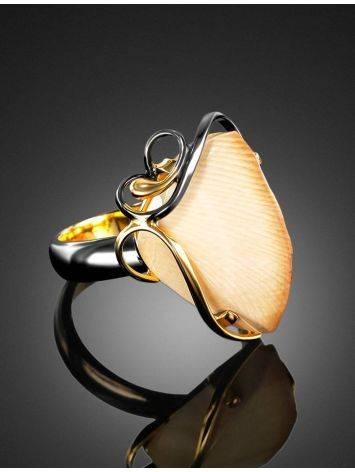 Refined Gold-Plated Open Ring With Genuine Mammoth Ivory The Era, Ring Size: Adjustable, image , picture 2