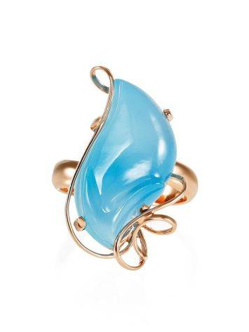 Gold Plated Silver Cocktail Ring With Chalcedony The Serenade, Ring Size: Adjustable, image , picture 3