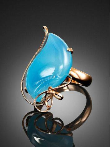 Gold Plated Silver Cocktail Ring With Chalcedony The Serenade, Ring Size: Adjustable, image , picture 2