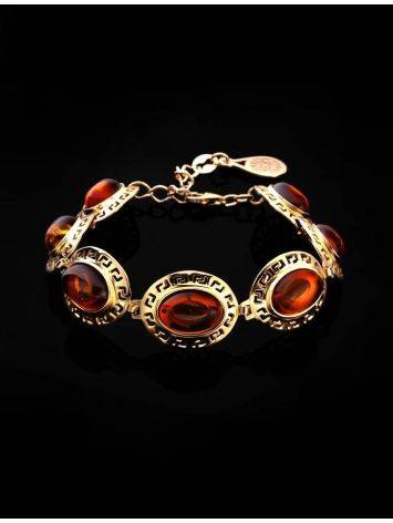 Link Amber Bracelet In Gold Plated Silver The Ellas, image , picture 2