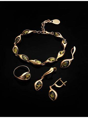 Link Amber Bracelet In Gold Plated Silver The Peony, image , picture 4
