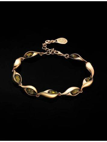 Link Amber Bracelet In Gold Plated Silver The Peony, image , picture 2