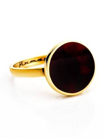 Gold-Plated Ring With Cherry Amber The Monaco, Ring Size: 5.5 / 16, image , picture 3