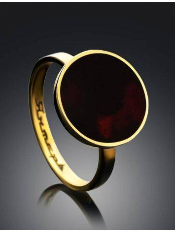 Gold-Plated Ring With Cherry Amber The Monaco, Ring Size: 5.5 / 16, image , picture 2