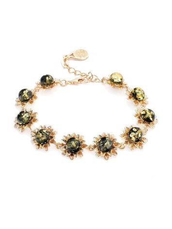 Floral Gold Plated Silver Link Bracelet With Amber The Aster, image