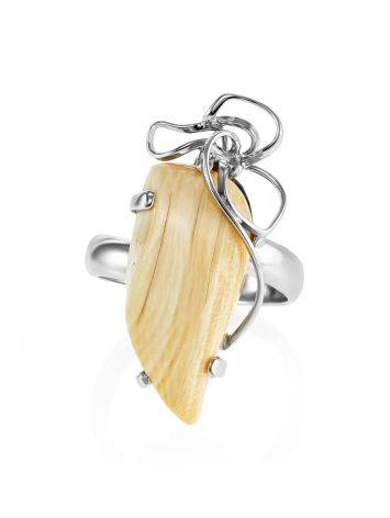 Bold Silver Cocktail Ring With Mammoth Tusk The Era, Ring Size: Adjustable, image , picture 3