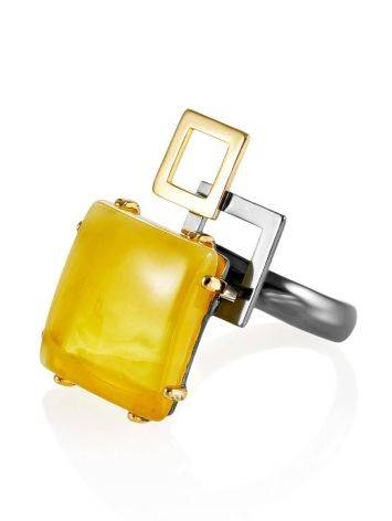 Geometric Adjustable Silver Ring With Natural Amber The Picasso, Ring Size: Adjustable, image , picture 3