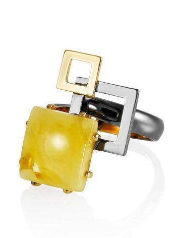 Extraordinary Silver Adjustable Ring With Amber The Picasso, Ring Size: Adjustable, image , picture 3