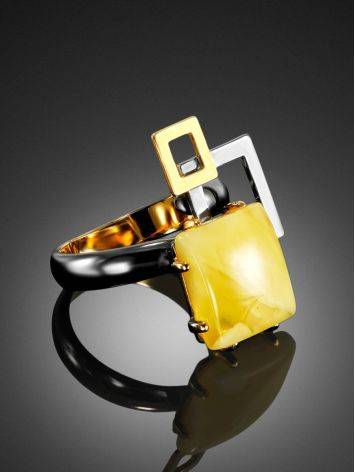 Extraordinary Silver Adjustable Ring With Amber The Picasso, Ring Size: Adjustable, image , picture 2