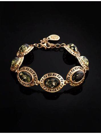 Gold-Plated Link Bracelet With Green Amber The Ellas, image , picture 2