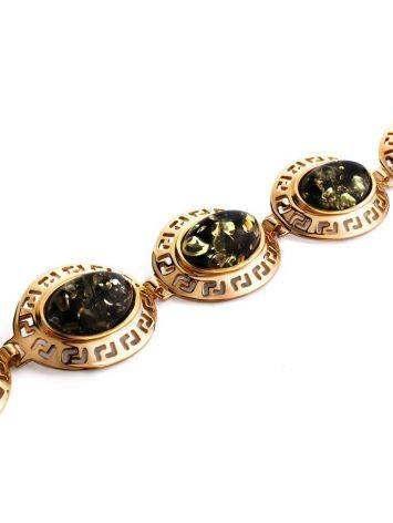 Gold-Plated Link Bracelet With Green Amber The Ellas, image , picture 3