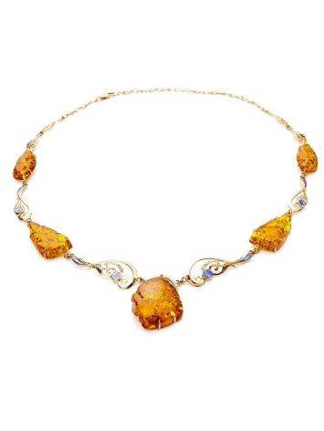 Exclusive Golden Amber Necklace With Nacre The Atlantis, image , picture 5