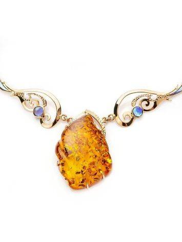 Exclusive Golden Amber Necklace With Nacre The Atlantis, image , picture 4