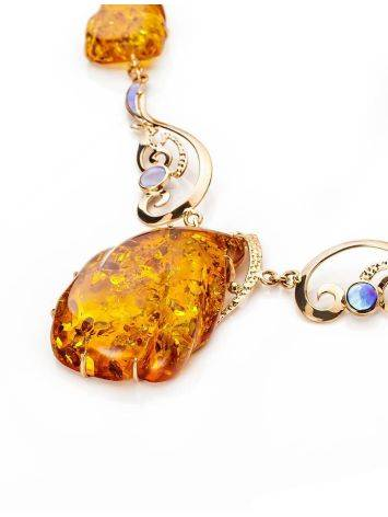 Exclusive Golden Amber Necklace With Nacre The Atlantis, image , picture 3
