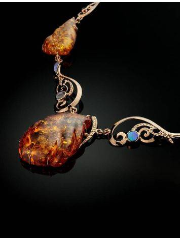 Exclusive Golden Amber Necklace With Nacre The Atlantis, image , picture 2