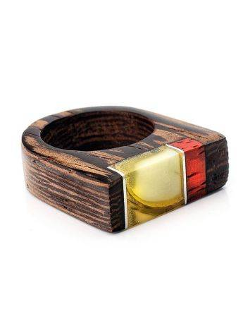Handmade Honey Amber Ring With Padauk Wood The Indonesia, Ring Size: 7 / 17.5, image , picture 3