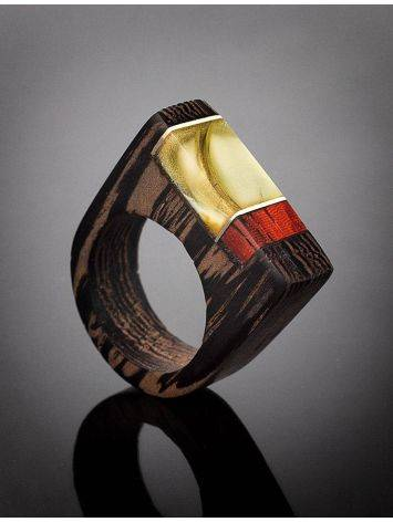 Handmade Honey Amber Ring With Padauk Wood The Indonesia, Ring Size: 7 / 17.5, image , picture 2