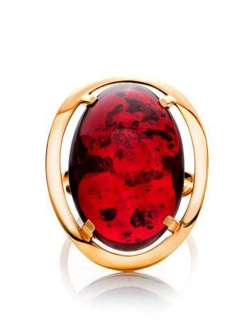 Bright Red Amber Cocktail Ring The Elegy, Ring Size: 11 / 20.5, image , picture 3