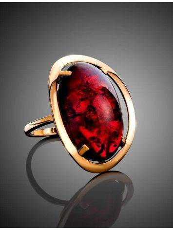 Bright Red Amber Cocktail Ring The Elegy, Ring Size: 11 / 20.5, image , picture 2