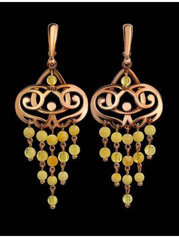 Honey Amber Chandelier Earrings In Gold-Plated Silver The Siesta, image , picture 2