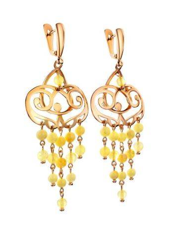 Honey Amber Chandelier Earrings In Gold-Plated Silver The Siesta, image , picture 3