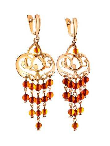 Cherry Amber Chandelier Earrings In Gold-Plated Silver The Siesta, image , picture 3